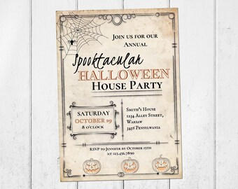 halloween invitations printable halloween house party etsy
