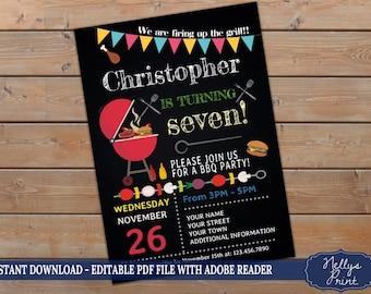 bbq birthday invitation barbecue invitation bbq invitations etsy