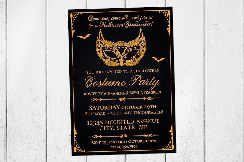 Halloween Invitations, Gothic Invitation, Masquerade Costume Party,  Halloween Party Invitations, Self Editable PDF, Instant Download, Gold