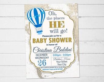 Baby Shower Invitation Boy, Hot Air Balloon Baby Shower Invitation, Oh The Places He Willl Go, The Places He'll Go, Baby Shower Invitation