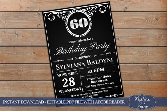 60th birthday invitation vintage party invitation adult etsy image 0 filmwisefo