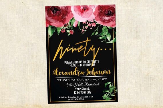 90th Birthday Invitation Adult Invitations