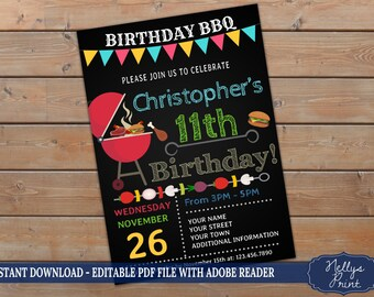 BBQ Birthday Invitation, Barbecue Invitation, Barbecue Party Invitation, Self Editable PDF file, Instant Download, Girl or Boy Invitation