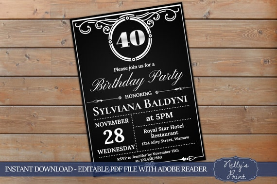 40th Birthday Invitation Vintage Party Adult