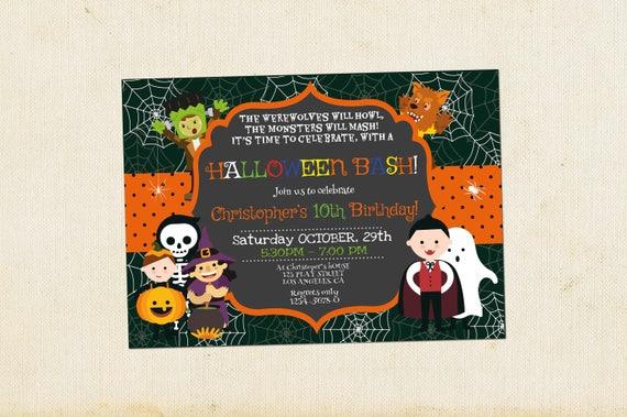 kids halloween invitation birthday halloween birthday etsy