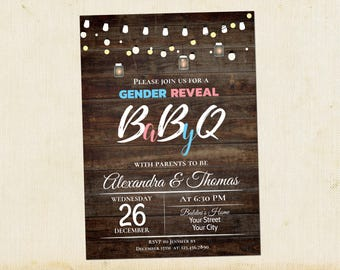 BabyQ Gender Reveal Invitation, Baby-Q Shower Invitation, Baby BBQ, Couples Gender Reveal Baby Shower Invitation, Instant Download, Editable