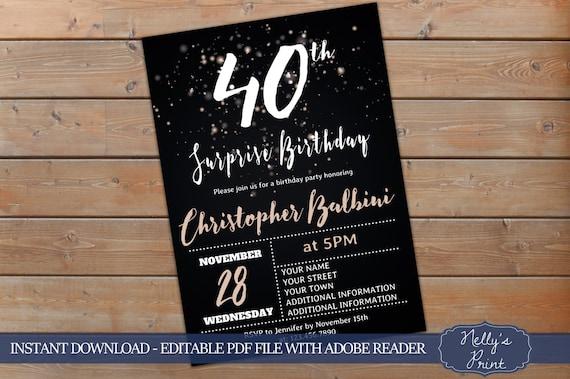 40th Surprise Birthday Invitation Adult Birthday Invitations Etsy