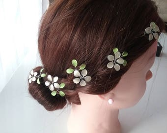 Hair pins set, bridesmaids, Bridal hair jewelry, ivory grenety