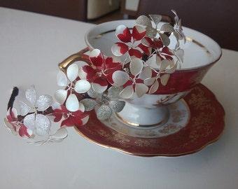 Bridal headbands, Red ivory silver