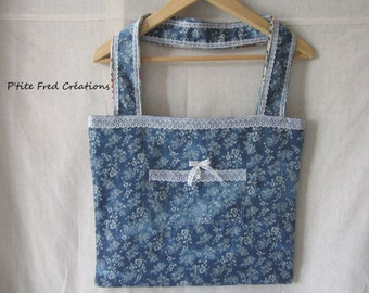 Fabric shopping bag reversible Creamery and jean flower patterns