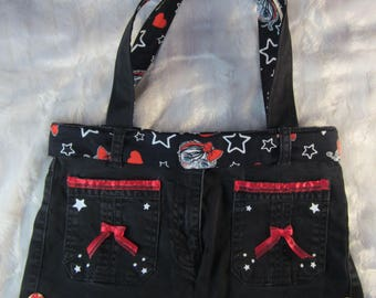 Recycled black jeans bag