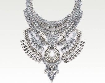 Bohemian festival necklace Silver tribal ethnic delicate statement bib necklaces Egyptian gypsy jewelry accessories Boho gift for women