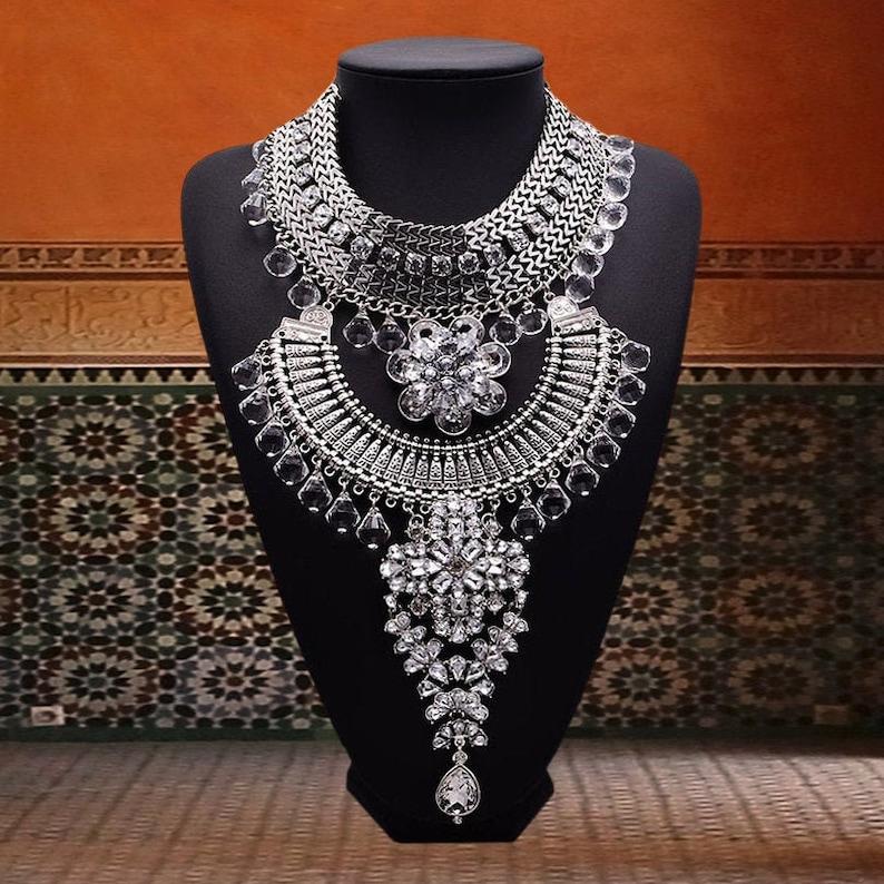Bohemia Feather Rhinestone Pendant Choker Bib Necklace Wedding Party Jewelry