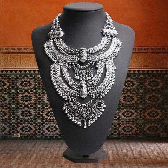Boho statement green tribal necklace bracelet set