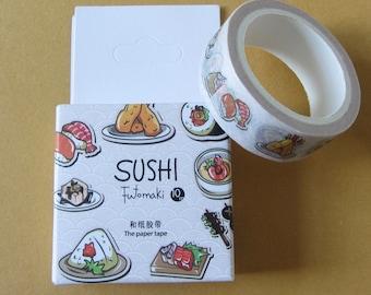 Japanese Sushi Washi Tape, Decorative Sushi Paper Adhesive Tape (15 mm x 10 m), Kawaii Sushi Food Washi, Sushi Stationery
