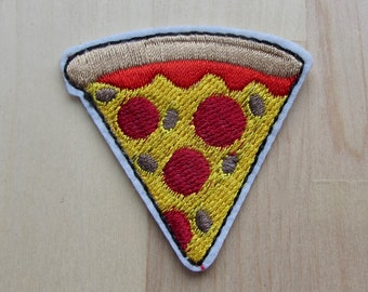 Pepperoni Pizza Slice Iron On Patch, Funny Embroidered Applique Patch, Kawii Food Applique Badge, Applique Junk Food Pop Culture Patch