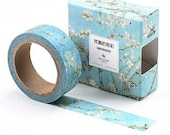 Almond Blossom Van Gogh Washi Tape, Decorative Tree Blossom Planner BUJO Journal Tape, Blue White Blossom Gift Packaging Masking Tape