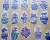 20 Terrarium Mushroom Vellum Stickers, Fungi Nature Stickers, Planner BUJO Journal Scrapbook Stickers, Whimsical Illustrated Stickers