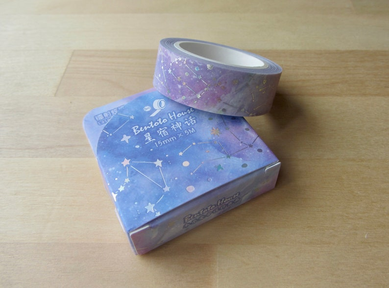 Silver Foil Masking Tape Star Celestial Night BUJO Journal Planner Tape Starry Night Space Washi Tape Galaxy Constellation Washi Tape