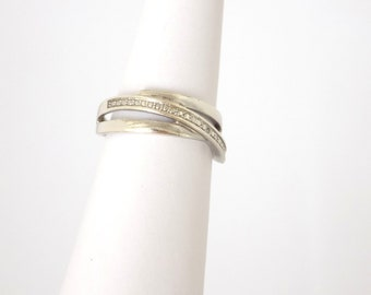 Silver 925 Ring 3 Rings Ziconia Size 56 FR