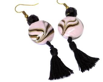 Earrings Black Pompom Light Pink Venitian Glass beads