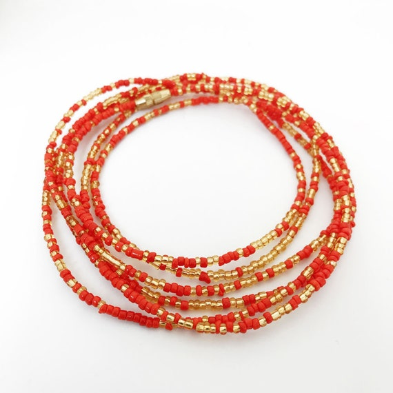 Red Macaroni Elbow Trade Beads Africa 32 Inch 121528