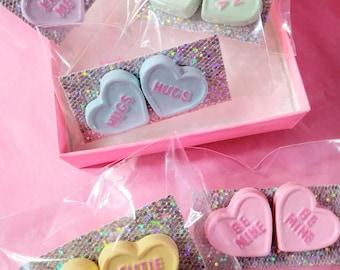Pastel rainbow choice conversation Valentine's candy heart Earrings stud earrings