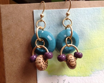 Turquoise Button, Purple Glass & Coco Wood Beaded Earrings