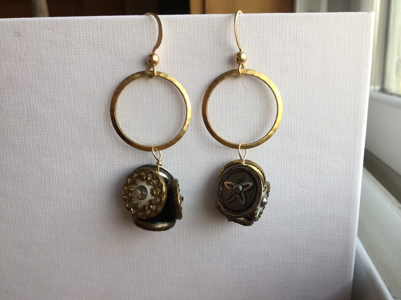 Matte Gold Plated Brass Earwires Repurposed Hammered Brass Ring With Vintage Shank Buttons Earrings Upcycled Gold-Filled Eyepins