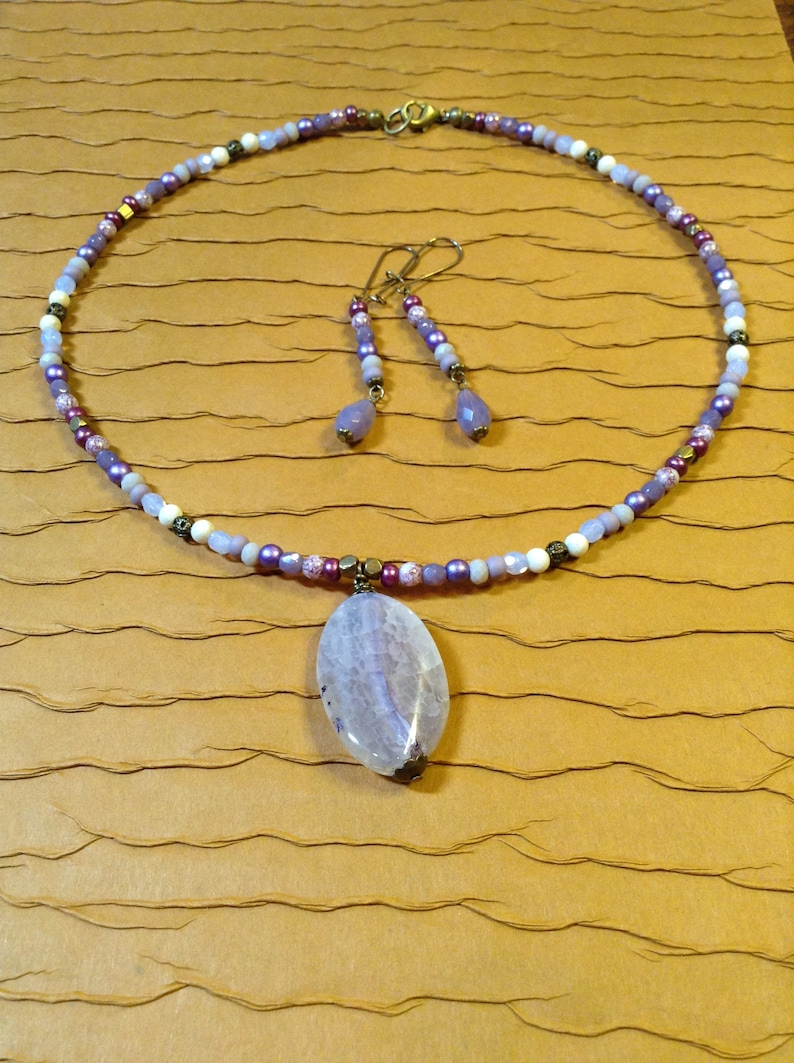 Antiqued Gold Plated Brass Fire Polished Glass River Rock Lavender /& Brass Beaded Dyed Fire Agate Pendant Necklace With Skinny Earrings
