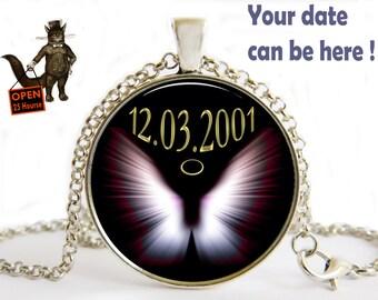 Angel Birthday Custom Date Man Woman Pendant Initials Letters Gift Husband Male Friend Art Necklace Jewelry