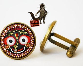 Lord Jagannath cufflinks jewelry accessory, Jagannath cufflinks , Sabhadra Balabhadra Lord Krishna, Yoga om Puri Hindu God Hindu Hinduism