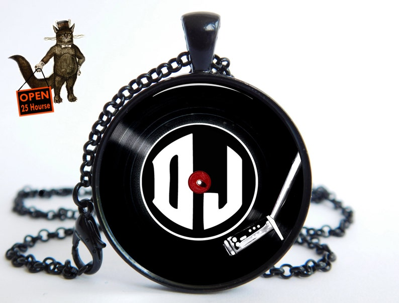 DJ vinyl record Custom Initials Date Gift husband For DJ drummer birthday  Personal personalized Man Men's pendant necklace Jewelry