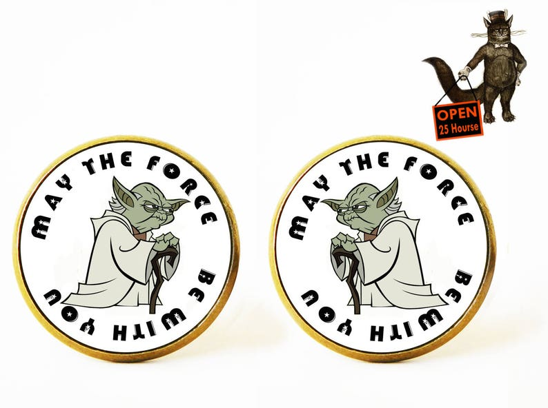 May the force be with you Yoda cufflinks Star wars cufflinks Star wars accessory,Star wars jewelry,jedy cufflinks,Men/'s Jewelry,Star wars