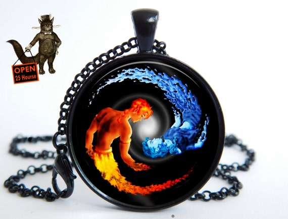 Yin Yang Pendant Fire And Water Necklace Fire And Ice Yin Yang Etsy