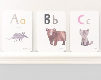 Alphabet Flashcards - ABC Flashcards - Animal Alphabet Flashcards - Flash Cards - Kids Flashcards - A-Z Flashcards - Educational Flashcards