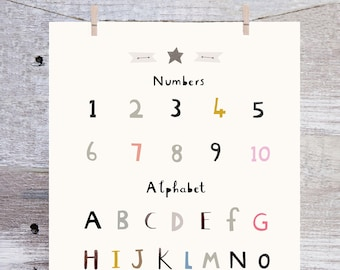 Alphabet Print - Number Print - Nursery Print - Nursery Art - Children's Prints - Children's Wall Art - Alphabet Poster - Alphabet Wall Art