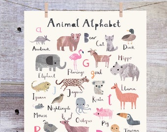 Animal Alphabet Print - Nursery Print - Nursery Wall Art - Children's Prints - Children's Wall Art - Alphabet Poster - Alphabet Wall Art