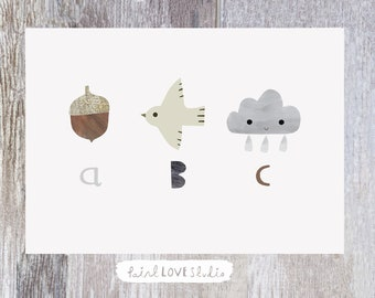 ABC Print - Nursery Art - Nursery Print - Nursery Wall Art - Children's Prints - Children's Wall Art - Alphabet Poster - Nursery Decor