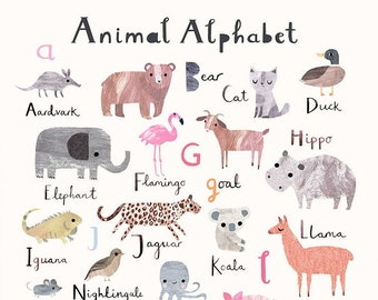 Digital Download - Printable Animal Alphabet - Nursery Art - Children's Prints - Printable Children's Wall Art - Nursery Print