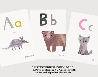 Printable Alphabet Flashcards  -  Printable Flashcards - Alphabet Flash Cards - Alphabet Flashcards - ABC Flashcards - Digital Download