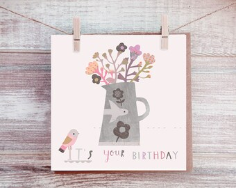 Flowers Birthday Card - Floral Card - Female Birthday Card - Happy Birthday Card - Paintlove Studio Cards