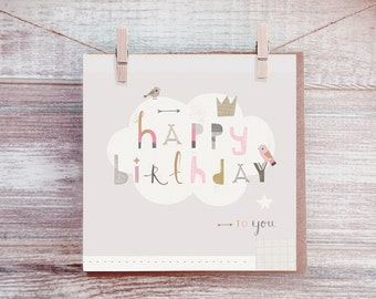 Happy Birthday Card - Greetings Cards - Female Card - Friends Birthday Card - Paintlove Studio - Blank Card - Birthday Card