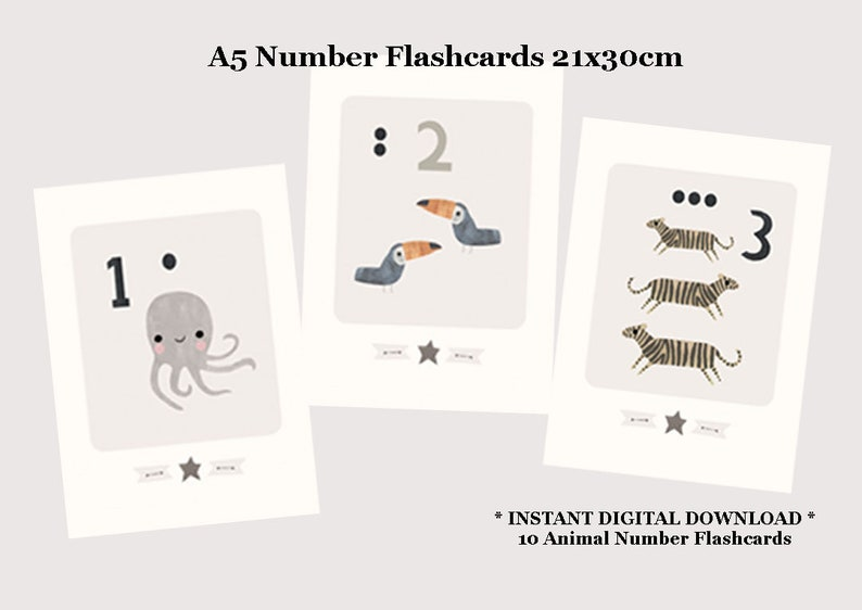 photograph relating to Printable Number Flash Cards named A5 Larger sized Printable Quantity Flashcards - Printable Counting Flashcards - Printable Flashcards - Counting Flash Playing cards - Selection Flashcards