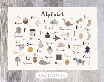 Alphabet Print - Nursery Print - Nursery Wall Art - Children's Prints - Children's Wall Art - Alphabet Poster - Alphabet Wall Art