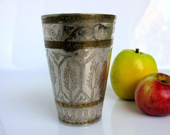 """Mid Century / Brass Lassi Cup / Hand Engraved Lassi Cup / Floral Design / Milk Glass / Vase / 5"""" / Tall / North India / Islamic / Metal Arts"""