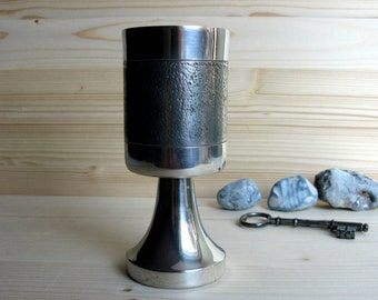 80s / Modernist / Sweden / Pewter Goblet / Wine Goblet / Svenskt Tenn / Alton / K E Palmberg Design / Scandinavian / Brushed Metal/ Man Cave