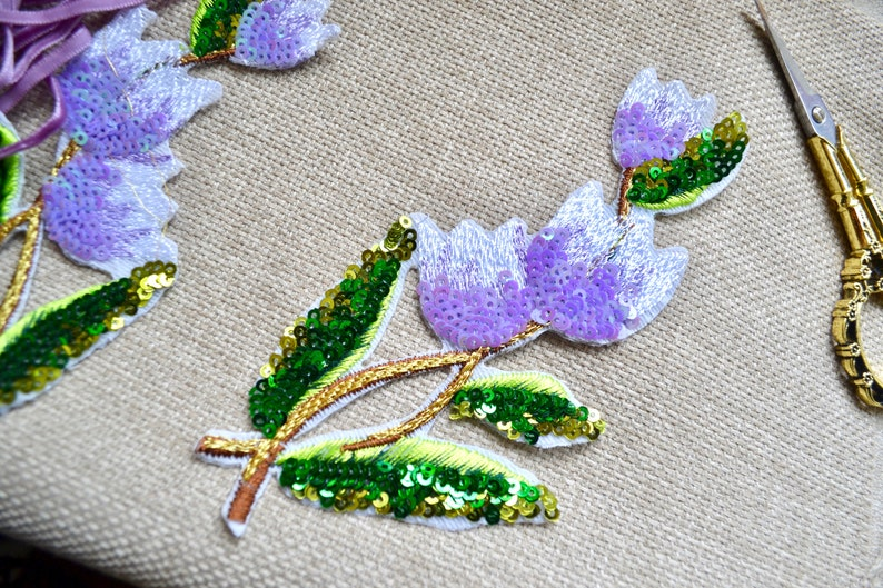 Scrapbooking supply Junk journaling supply 2pc Purple embroidered sequence applique patch