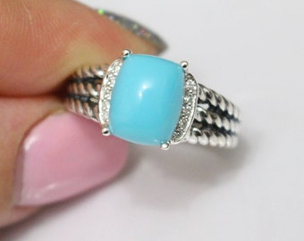 Used David Yurman Wheaton 10x8 mm  Turquoise & DIAMOND Ring Size 5