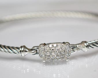 Vintage David Yurman Petite Wheaton Bracelet with Diamonds 3mm Hook clasp Medium SIZE